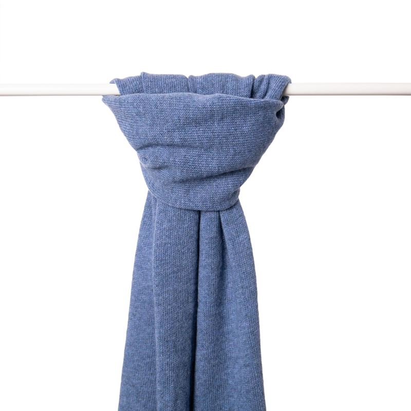 Ladies Lambswool Plain Knit Scarf - Jeans Blue