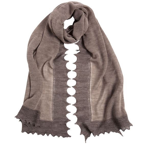Cashmere And Wool Plain Knit Scarf With Contrast Border
