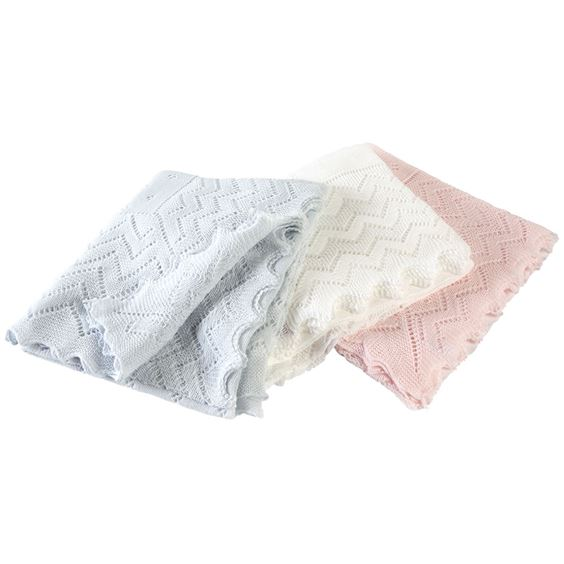 Lacy Acrylic Receiving Shawl - White
