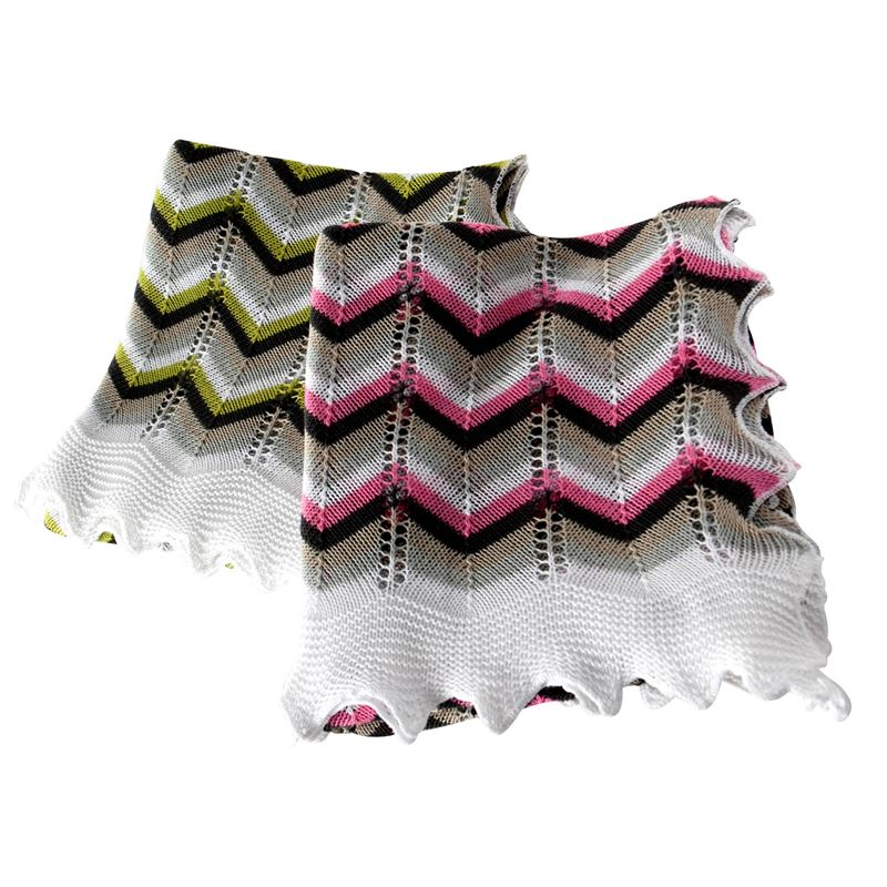 Multi-coloured Chevron Cotton Baby Shawl - Green Range