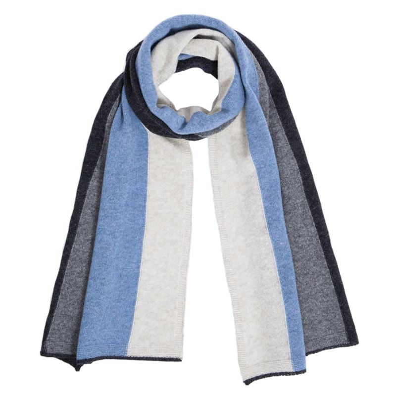 Men's Jeans Blue Lambswool Striped Scarf