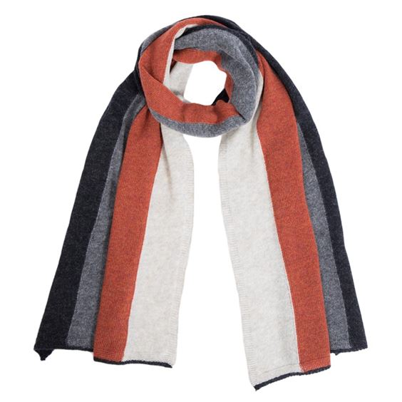 Men's Burnt Orange Lambswool Striped Scarf