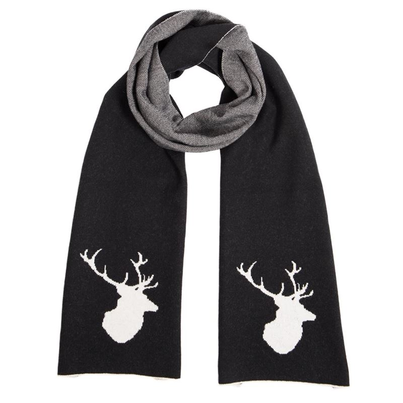 Men's Black Stag Scarf