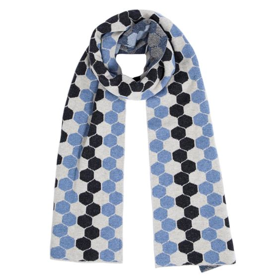 Men's Jeans Blue Lambswool Hexagon Scarf