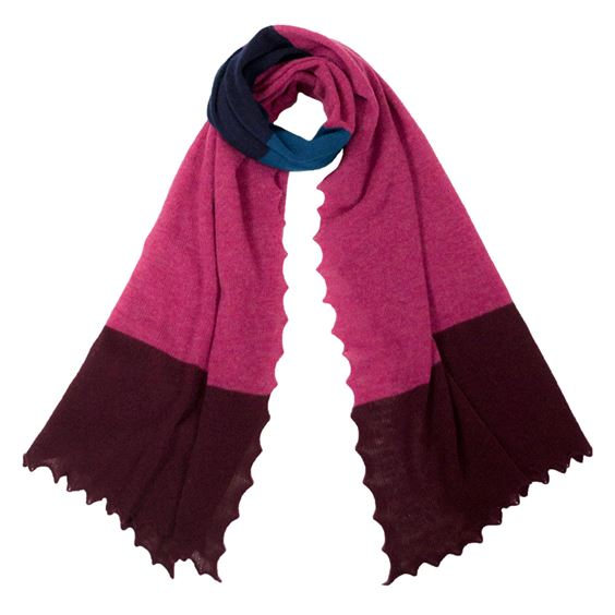Women's Lambswool Plum Block Striped Scarf
