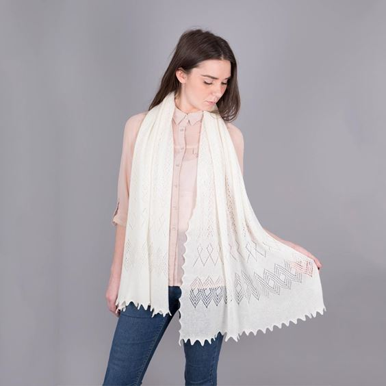 Cashmere Winter White Scarf