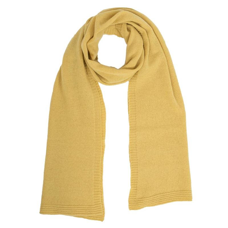 Men's Brass Lambswool Plain Knit Scarf