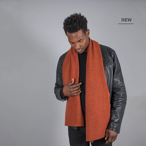 Men's Burnt Orange Lambswool Plain Knit Scarf