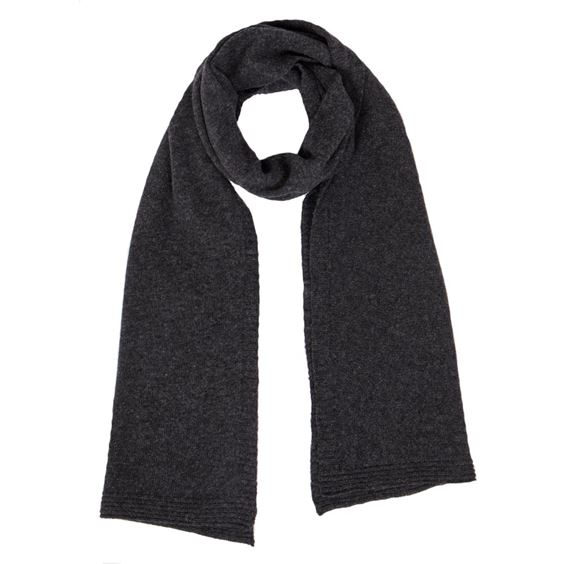 Men's Charcoal Lambswool Plain Knit Scarf