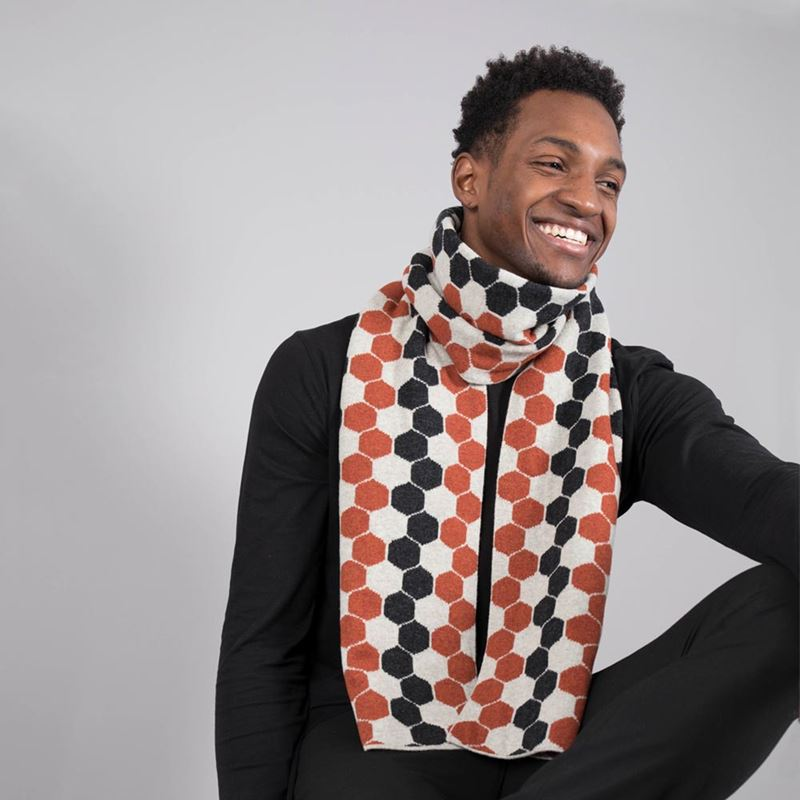 Lambswool Hexagon Scarf - Burnt Orange