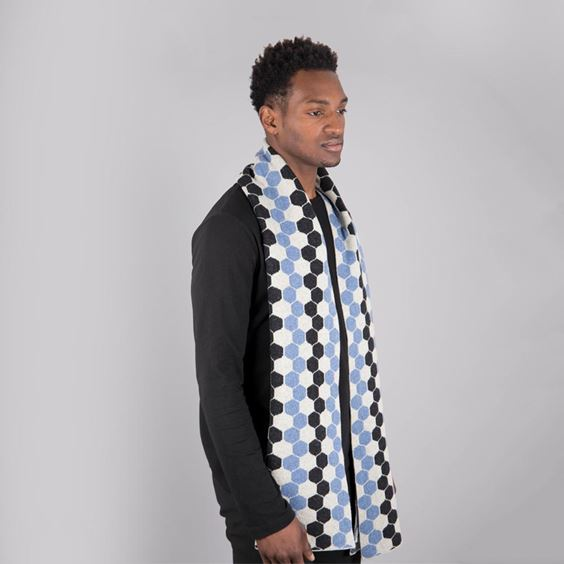 Jeans Blue Lambswool Hexagon Scarf