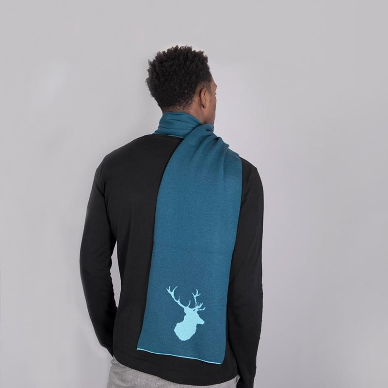 Men`s Stag Scarf - Teal