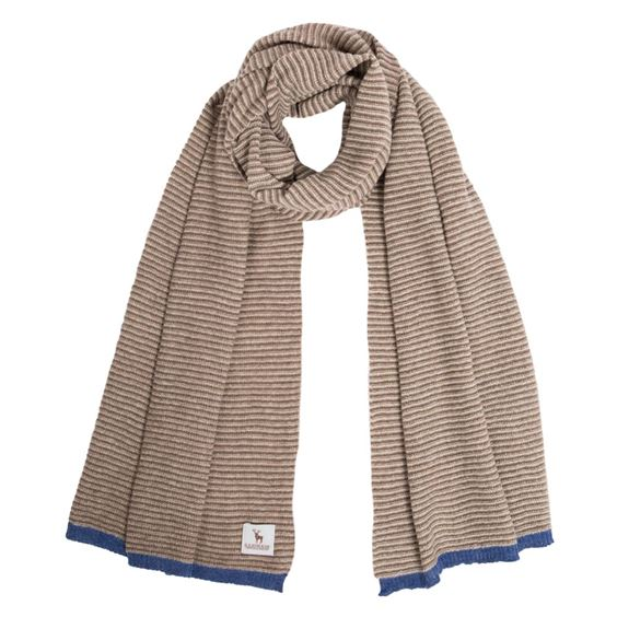 Taupe Lambswool Fine Stripe Scarf