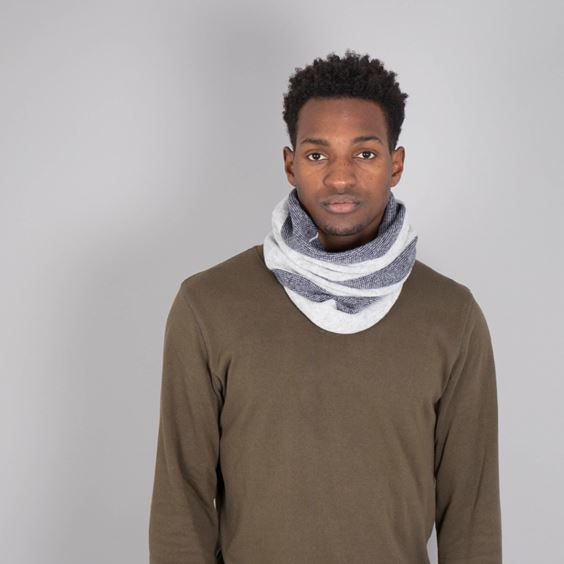 Lambswool Purl Knit Neck Warmer - Navy