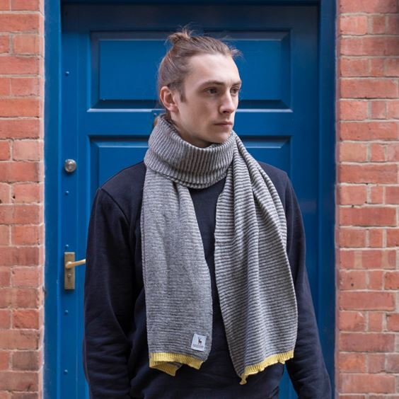 Grey Lambswool Fine Stripe Scarf