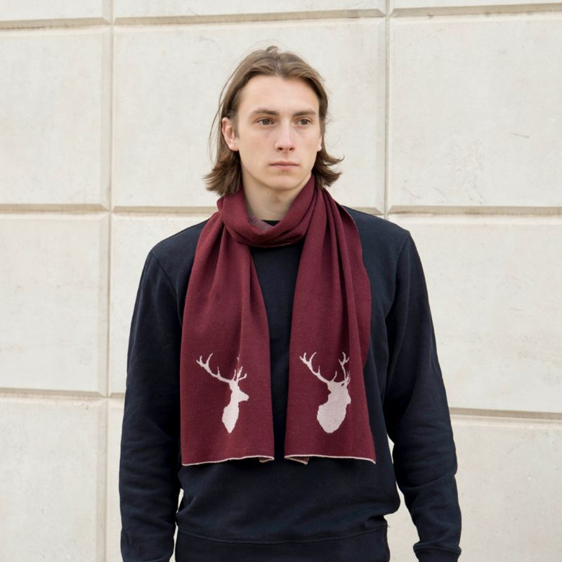Men`s Stag Scarf - Port