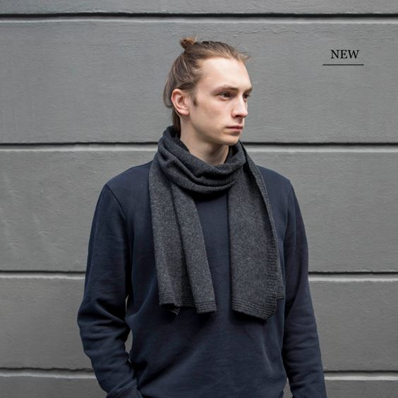 Charcoal Lambswool Plain Knit Scarf