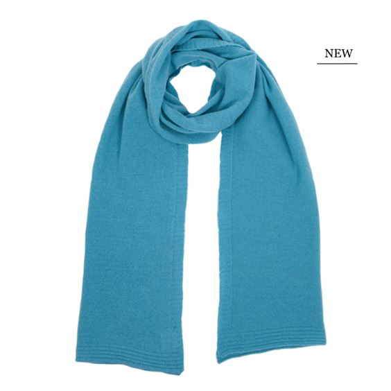 Barbados Blue Lambswool Plain Knit Scarf