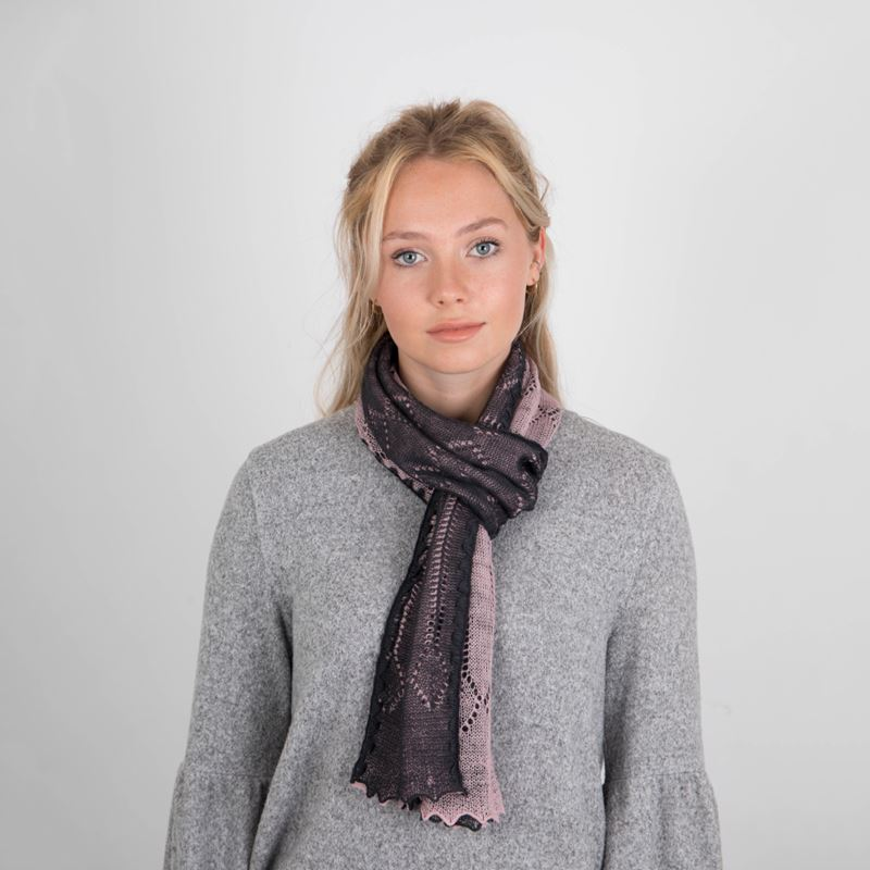 Lace Knitted Two-Tone Reversible Wool Scarf