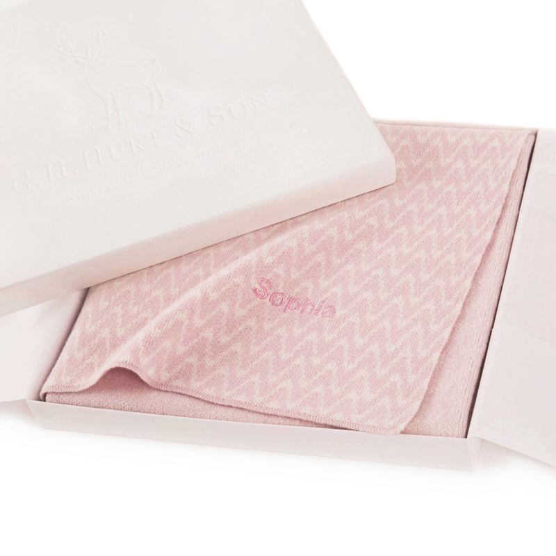 cashmere baby blanket pink in gift box