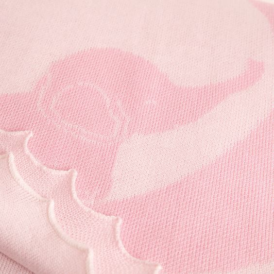 Pink baby elephant blanket close up