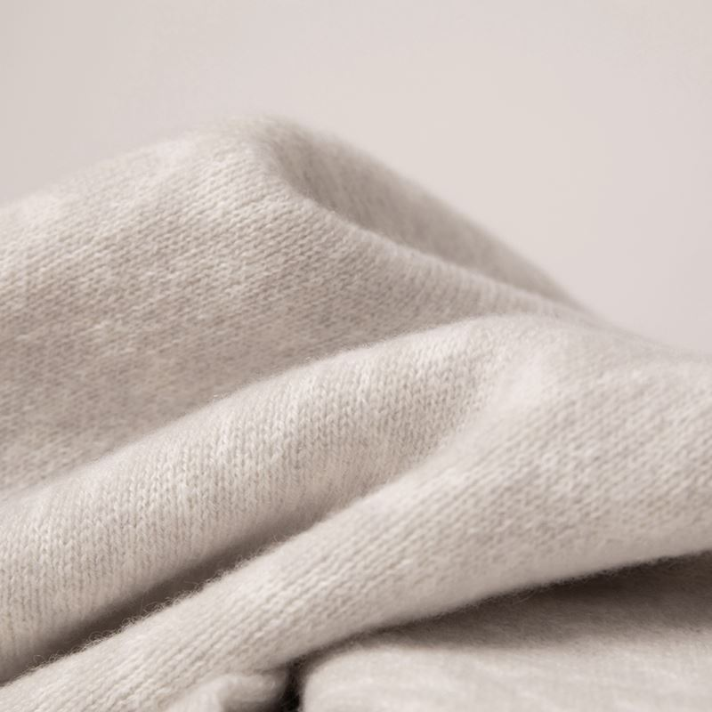 Cashmere blanket close up in grey
