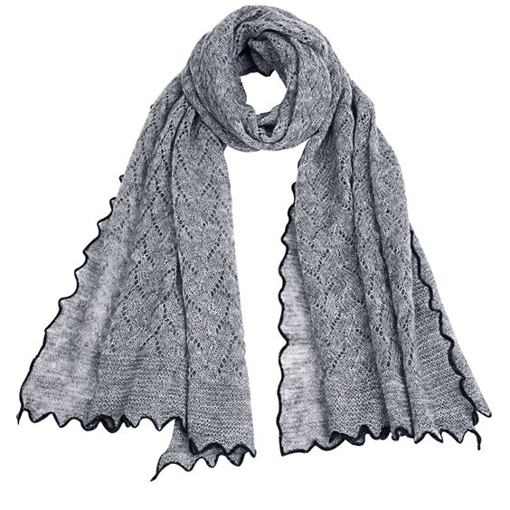 Textured mohair mix scarf with contrast edge - Mid Grey/Anthracite