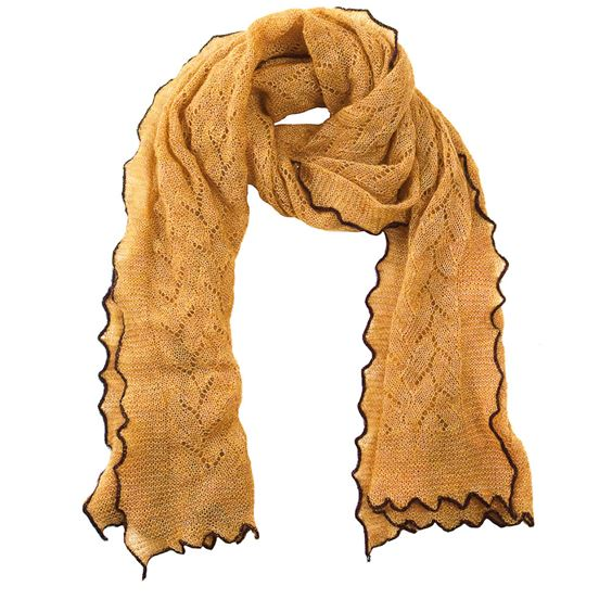Textured mohair mix scarf with contrast edge - Gold/Anthracite