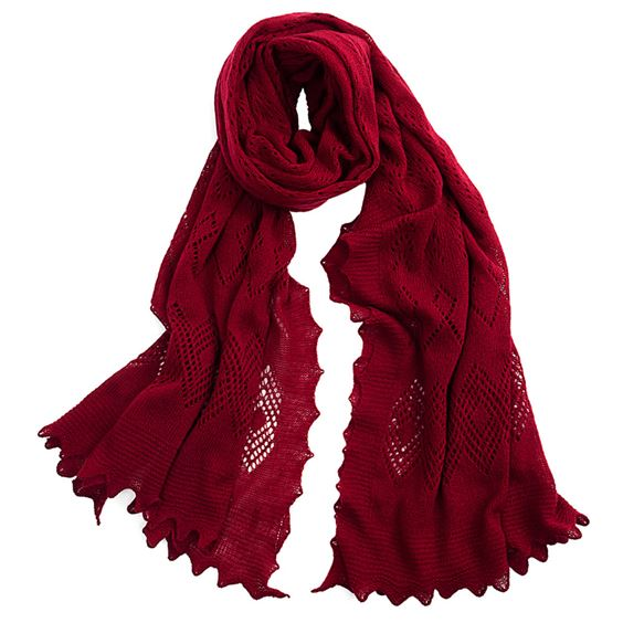 Cashmere Lacy Scarf - Claret