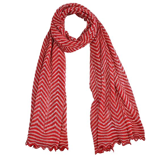 Chevron striped cotton mix scarf