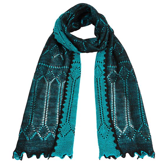 Two-tone reversible lace knitted wool scarf